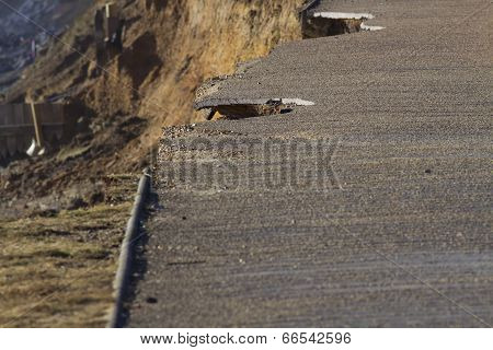 February 14 Storm Damage 2014, Holes Gauged Out Of Tarmac Asphalt Seaside Path, Milford On Sea