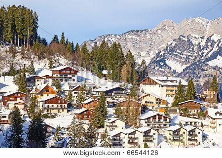 Typical swiss winter season landscape. January 2014, Switzerland.