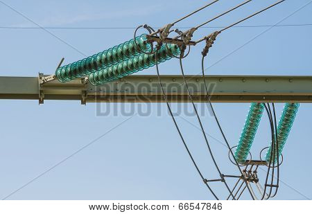 High Voltage Lines And A Insulators From Close