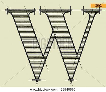 art simple alphabet in vector, classical black handmade font, letter W