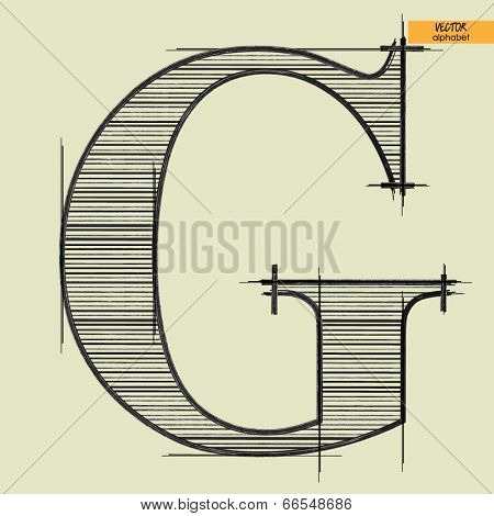 art simple alphabet in vector, classical black handmade font, letter G