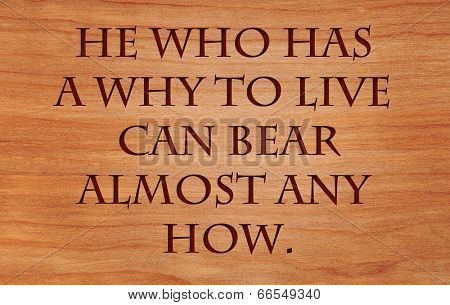 He who has a why to live can bear almost any how. - quote on wooden red oak background