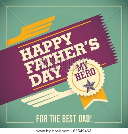 Illustration of father's day card with retro elements. Vector il