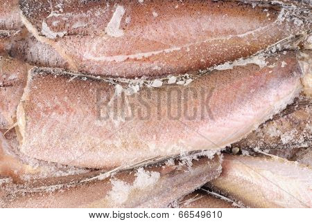 Frozen Hake Fish As Food Background
