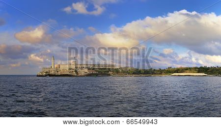 Panoramic view of el morro fortress in havana bay entrance at sunset