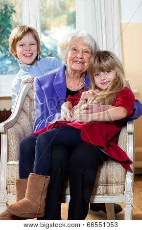 Grandmother With Kids Smiling
