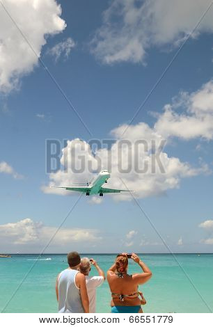 Jet Airplane Approach Over Water
