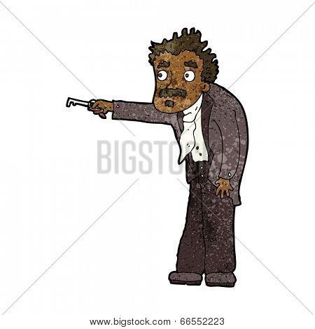 cartoon man trembling with key unlocking