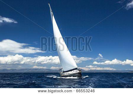 Luxury yachts. Boat in sailing regatta.