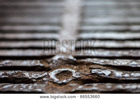 Closeup Of The Metal Drain Grate Surface