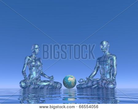 Blue meditation for earth - 3D render