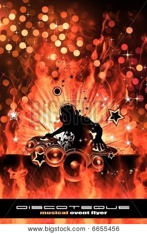 Burning Dj Background For Alternative Disco Flyers