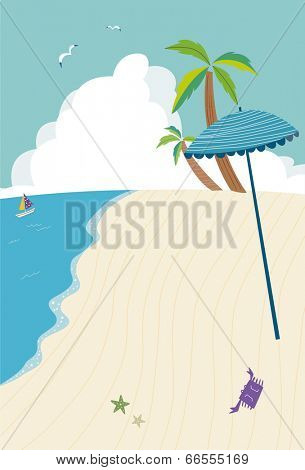 The view of parasol on the beach