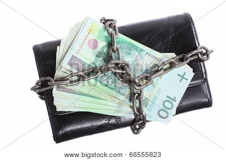 End Of Personal Spending.  Purse Polish Banknote In Chain