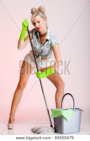 Sexy Girl Retro Style, Woman Housewife Cleaner With Mop