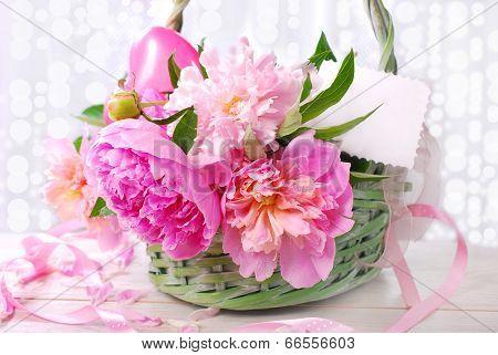 Beautiful Pink Peony In Wicker Basket