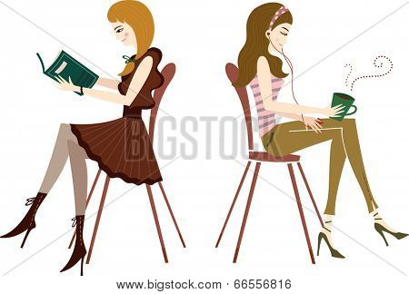 The view of women are reading a book