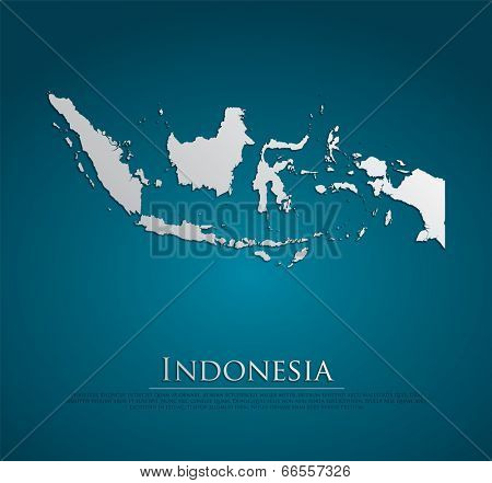 vector Indonesia Map card paper on blue background, high detailed