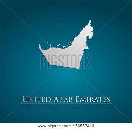 vector United Arab Emirates Map card paper on blue background, high detailed