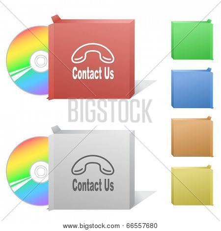 Contact us. Box with compact disc.