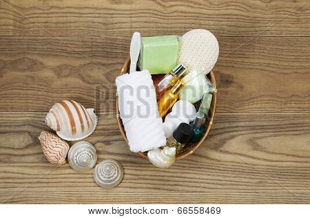 Bath And Shower Accessories In Basket