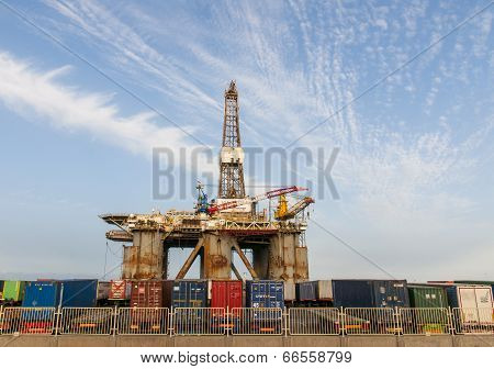 Gas and oil rig platform in the port of Tenerife. Spain