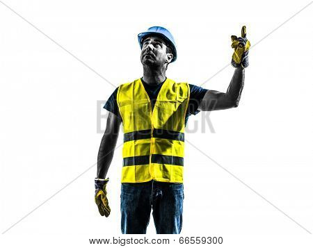 one construction worker signaling looking up hoist silhouette isolated in white background