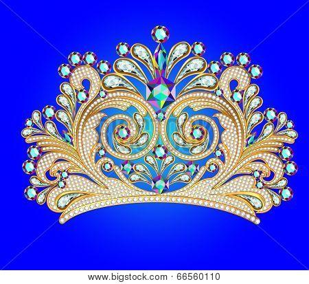 Feminine Decorative Tiara Crown With Jewels