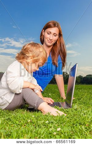 mother child outdoor computer education entertainment