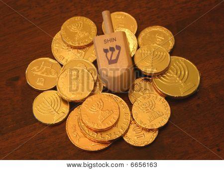 Hanukkah gelt and driedel
