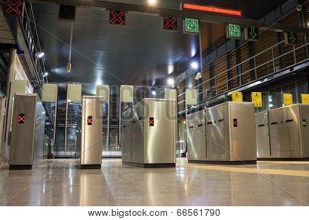 VALENCIA, SPAIN - JUNE 11, 2014: The Valencia Metro gate at the