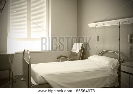 Hospital Room Interior In Sepia Tone