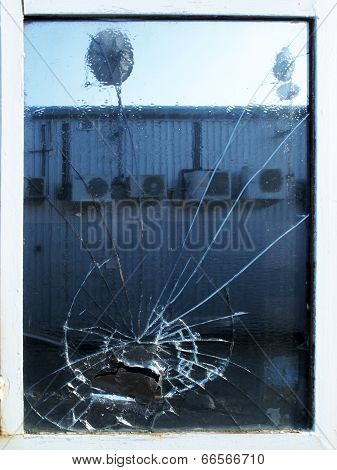 shattered factory window
