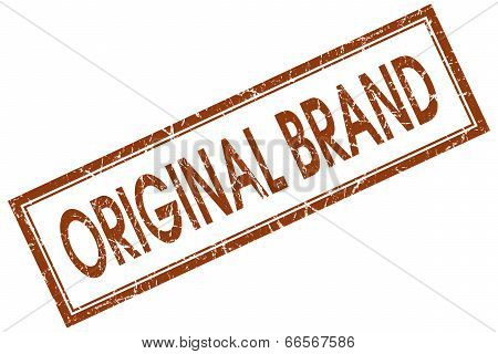 Original Brand Brown Square Grungy Stamp Isolated On White Background
