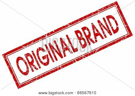 Original Brand Red Square Grungy Stamp Isolated On White Background