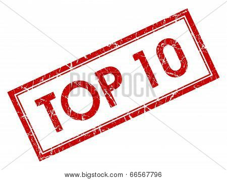 Top 10 Red Square Grungy Stamp Isolated On White Background