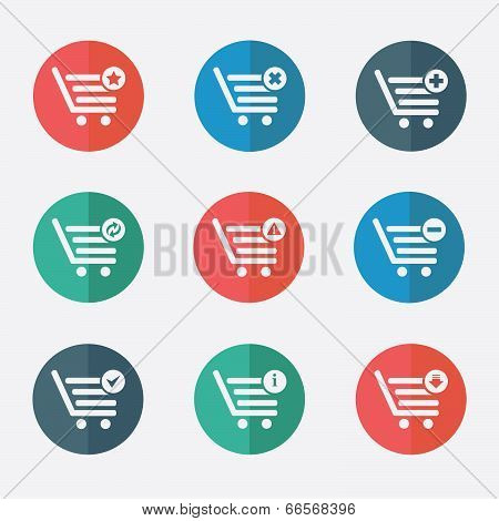 shopping basket icons - stock illustration