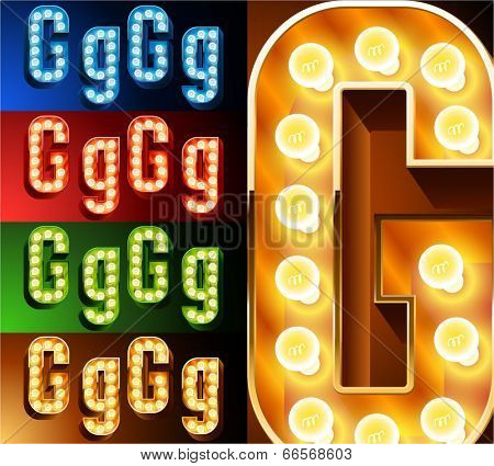 Ultimate realistic lamp board alphabet. Condensed style. Left and right options. Multicolored. Letter g