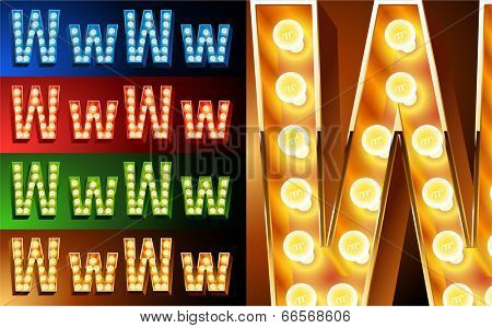 Ultimate realistic lamp board alphabet. Condensed style. Left and right options. Multicolored. Letter w
