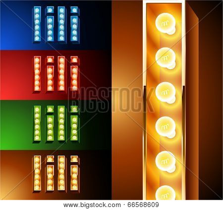 Ultimate realistic lamp board alphabet. Condensed style. Left and right options. Multicolored. Letter i