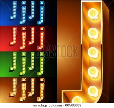 Ultimate realistic lamp board alphabet. Condensed style. Left and right options. Multicolored. Letter j