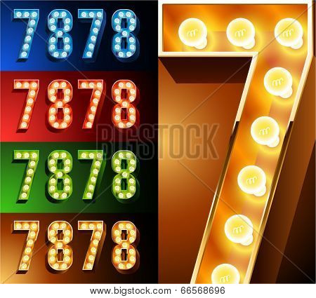 Ultimate realistic lamp board alphabet. Condensed style. Left and right options. Multicolored. Numbers 7 -8