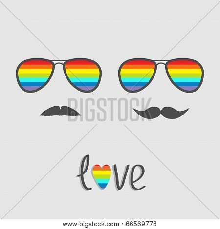 Two glasses with rainbow lenses and mustaches. Isolated icon.