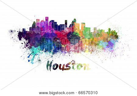 Houston Skyline In Watercolor