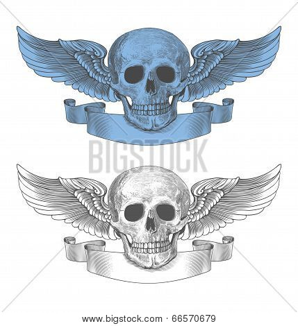 Skull with wings and ribbon in vintage engraving style