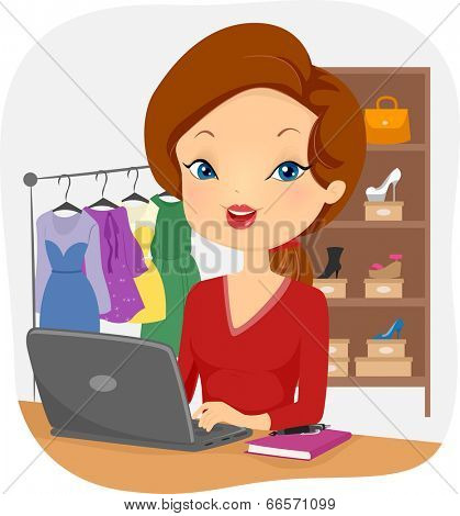 Illustration of a Female Online Seller Conducting Business from Her Home