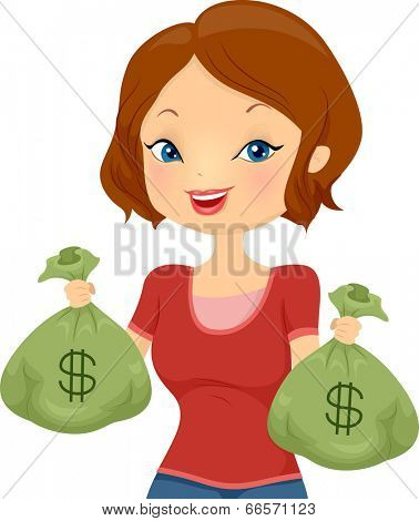 Illustration of a Pretty Girl Carrying Cash Bags