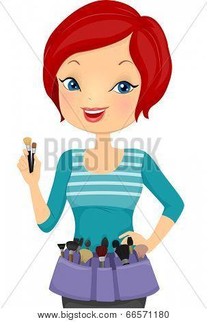 Illustration of a Female Make Up Artist Wearing a Make Up Belt