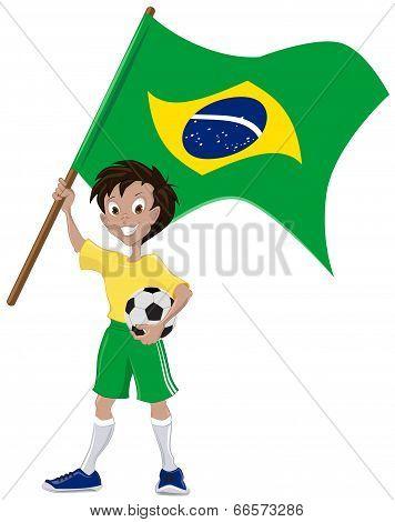 Happy soccer fan holds Brazilian flag