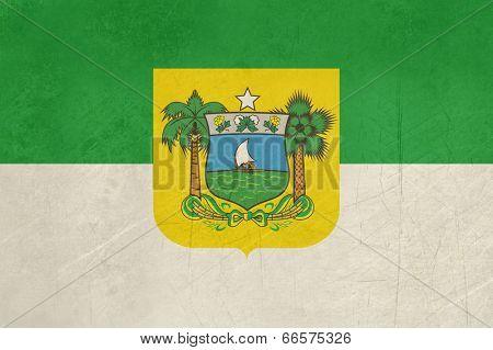 Grunge state flag of Rio do Norte in Brazil.